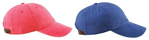 (Adams 6-Panel Low-Profile Pigment-Dyed Caps Set_nautical red / royal_One Size)