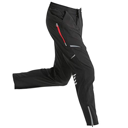 Mens Cycling Bike Pants Quick-Dry Water Resistant Outdoor Mountain Running Hiking Black