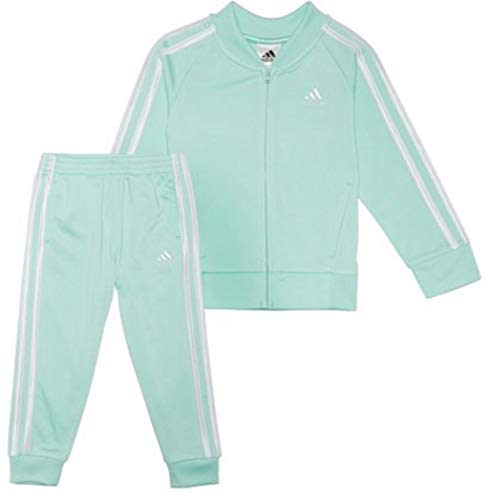 adidas Baby Girls' Tricot Zip Jacket and Pant Set (Clementine Mint 333, 5)