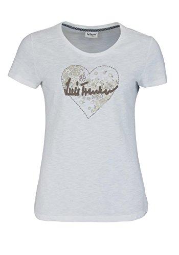 LUIS TRENKER Kurzarm T-Shirt Rundhals Stickerei ecru