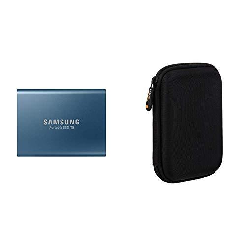 Samsung T5 Portable SSD - 500GB - USB 3.1 External SSD (MU-PA500B/AM) & AmazonBasics External Hard Drive Portable Carrying Case