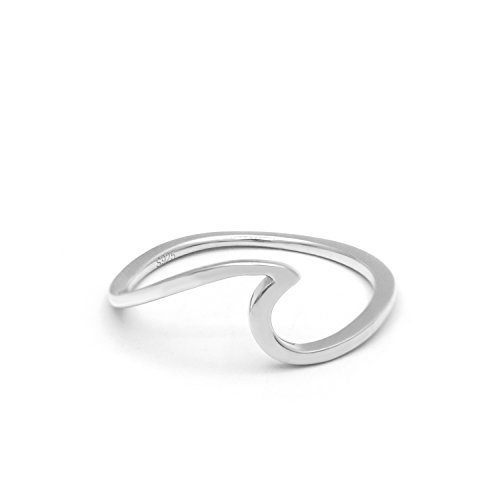 (Nana Jewelry 925 Sterling Silver Wave Rings,Fashion Rings for Girls for Women)