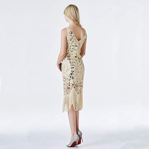 Gatsby '20 Alla amp;x Paillettes Z beige Beige Di Vestito Con Grande Del Da Gatsby Anni Nappe Flapper Degli Z7RBn7Y