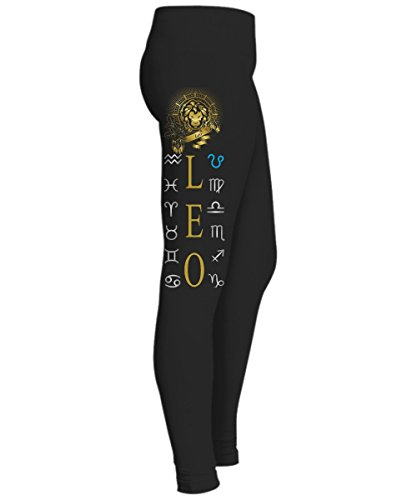 Zodiac Sign Woman Leggings - Womens Black Yoga jogging - Leo (Small)