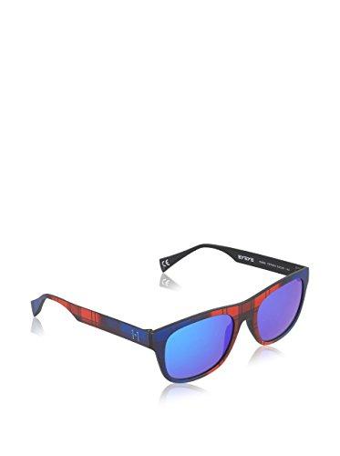 EYEYE By Italia Independent Wayfarer lunettes de soleil Style en Tartan rouge IS000 TRT 053 Blue Mirror