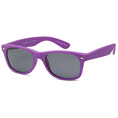 GAMMA RAY UV400 55mm Classic Adult Style Sunglasses - Gray Lens on Matte Purple - Ray Purple