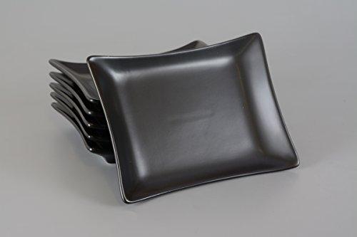 Keramik Sushi Teller / Essteller / Menüteller / Speiseteller / Teller Set 6-teilig 20cm schwarz/matt