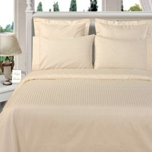 1000 Thread Count Three (3) Piece Queen Size Ivory Stripe Duvet Cover Set, 100% Egyptian Cotton, Premium Hotel Quality