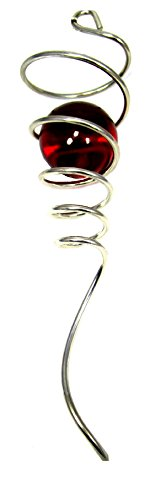 WorldaWhirl Wind Spinner Stabilizer Gazing Ball Spiral Tail Cyclone Yard Twister (Silver Wire, Red Glass Orb) (Stabilizer Wind)