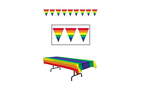 RAINBOW Party Decorations TABLECLOTH & Pennants - PRIDE - DECOR Gay LGBT Parties Events by Just4fun (Gay Pride Decorations)