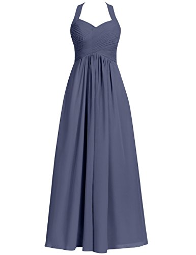 (Halter Bridesmaid Dresses Long Prom Dress Chiffon Evening Formal Gowns Pleats Maxi Stormy US 24W)