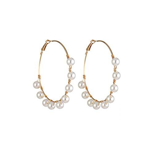 Tantisy ♣↭♣ Fashion Pearl Earrings European and American Pearl Ball Earrings Simple Hoop Earrings for Women/Girl