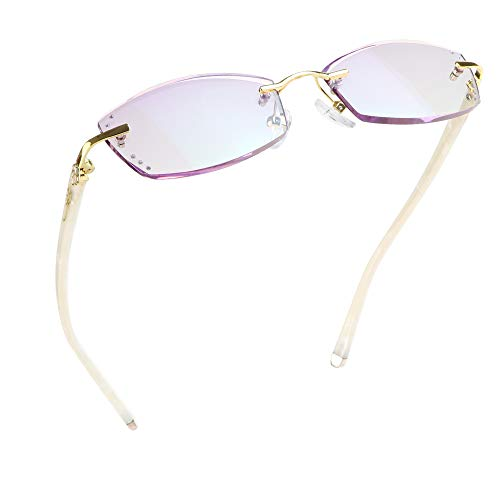 LifeArt Blue Light Blocking Glasses, Computer Reading Glasses, Anti Blue Rays, Reduce Eyestrain, Rimless Frame Tinted Lens with diamond, Stylish for Women (+1.00 Magnification)