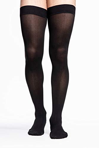 Sigvaris Midtown Microfiber 821NMLM99 15-20 mmHg Mens Thigh, Medium, Long - Black