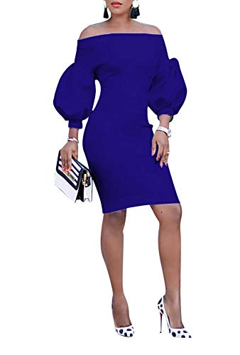 Ophestin Women Puff 3/4 Sleeve Off The Shoulder Bodycon Knee Length Party Pencil Midi Dress Blue XL