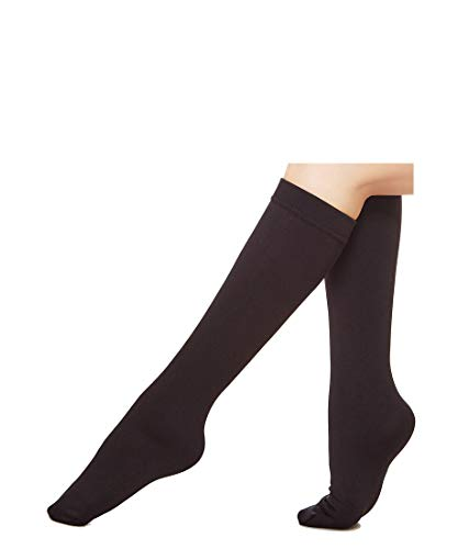 6 Pairs Women's Opaque Plush Fleece Lined Trouser Socks Knee High Stocking(black)