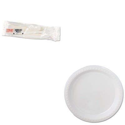 KITBWK6KITMWHTM81209 - Value Kit - Chinet Heavyweight Plastic Dinnerware (HTM81209) and Boardwalk 6KITMW Plastic Cutlery Kit with Plastic Fork, Plastic Knife, Plastic Spoon, 13quot; x 12quot; Napkin, Salt amp; Pepper (BWK6KITMW) - Fork & Amp ; Spoon