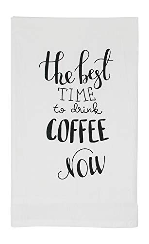 - Nino and Baddow The Best Time to Drink Coffee Now Funny Dishcloth Tea Towel Screen Printed Flour Sack Cotton Kitchen Table Linens
