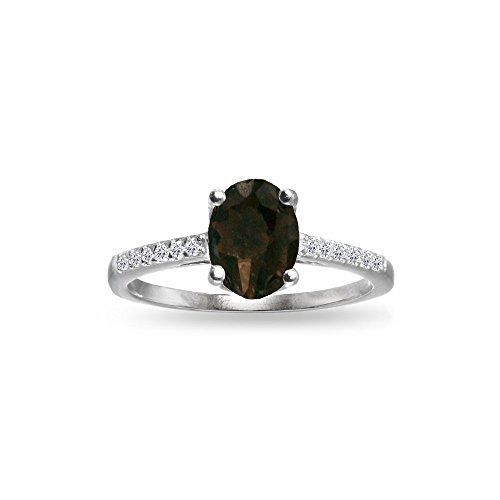 (Sterling Silver Smoky Quartz and White Topaz Oval Crown Ring, Size 7)