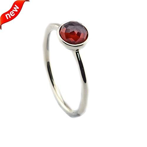 Genuine 925 Sterling January Droplet Rings | with Garnet Crystal Rings | for Women