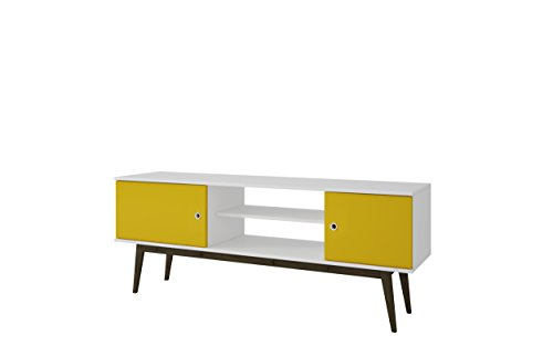 (ModHaus Living Mid Century Modern 50 inch Yellow and White TV Stand Media Storage with 4 Shelves 2 Doors and Splayed Wooden Legs - Includes Pen)