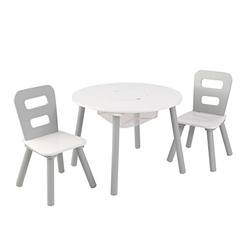 Fun Round Play Table (KidKraft Round Table & Chair Set Wht & Gray Others, White, Gray)