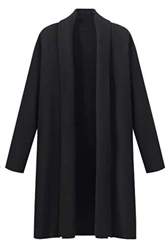 Casual Cappotto Bavero Giacca Pullover Baggy Monocromo Giovane Maglioni Manica Moda Maglia Abbigliamento Autunno Donna A Schwarz Comodo Lunga vdqSvx7