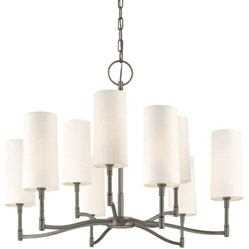 Dillon 9-Light Chandelier - Antique Nickel Finish with Off White Linen Shade