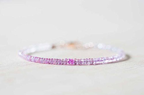 JP_Beads Pink Sapphire Bracelet with Rose Gold FilledFilled Fill or Sterling Silver, Delicate Beaded Shaded Sapphire Jewelry, September Birthstone 3.5mm 7 inches