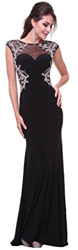 Meier Women's Cap Sleeve Rhinestone Open Back Formal Gown Prom Dress-18