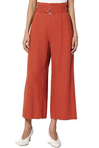 TheMogan Women's Belted High Rise Linen-Blend Wide Leg Culotte Crop Pants Rust S