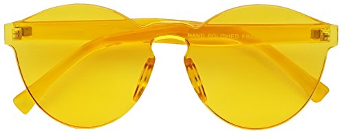 Colorful Transparent Frameless Bold Aesthetic Round Cat Eye Silhouette Sunglasses (Yellow, - Glasses Aesthetic