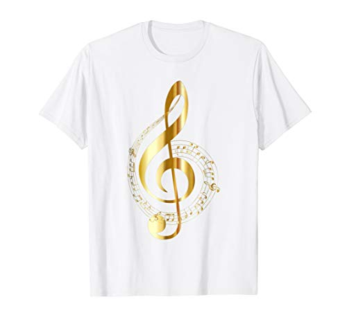 - Music Note Gold Treble Clef Symbol T Shirt for Musicians