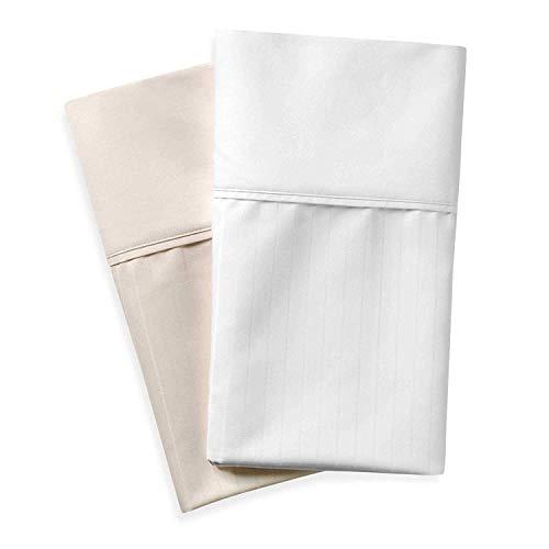 Wamsutta 620 Egyptian Cotton Deep Pocket Sheet Set (King, White Stripe)