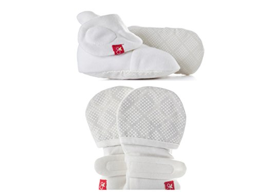 Baby Booties & Mittens Bundle, Adjustable Soft & Secure (Diamond Dots/Cream, 0-3 ()