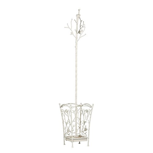Southern Enterprises Bird & Branch Hall Tree - All Metal Construction Coat Rack w/French Vanilla Finish - Entryway