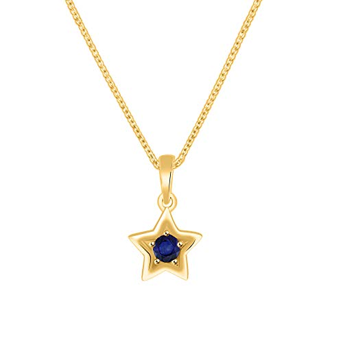 Mm Blue Star Sapphire - OMEGA JEWELLERY 3.mm Round Blue Sapphire 10K Solid Yellow Gold Mini Star Pendant Free 18