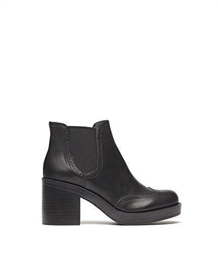 PoiLei Millie - chaussure femme / bottines façon chelsea en cuir à talon haut epais - avec bout pointu et empiècement élastiqué / style classique et élégant noir