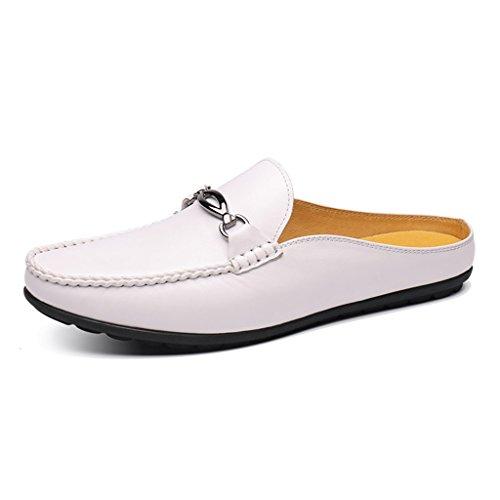 dimensioni per piselli HWF Pelle EU44 Uomo Scarpe Nero Pantofole Bianca per uomo Colore estate 5 Pantofole UK8 in rwvwOtxqX