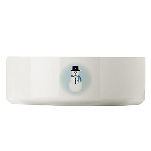 Large Dog Cat Food Water Bowl Snowman with Winter Blue Aura