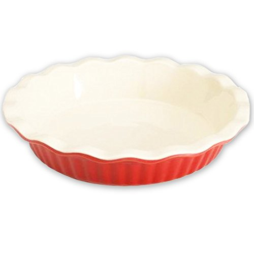 Good Cook 9 Inch Ceramic Pie Plate (Red Classic)