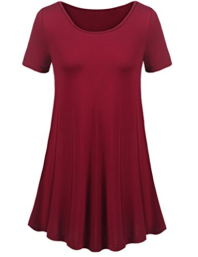 Uvog Women's Tunic Top Casual T Shirt For Leggings (M, Wine Red)