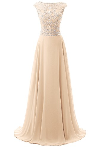 Dresstore Women's Long Chiffon Bridesmaid Dress Cap Sleeves Beaded Prom Eveing Gown Champagne US 18Plus by Dresstore