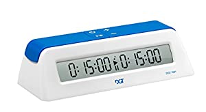 ChessCentral's DGT 1001 - Blue/White - Chess Game Clock & Timer - Play Chess, Have Fun E-Book (2 Item Bundle)