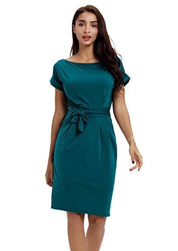 Payeel Office Midi Dresses O-Neck Pencil Dress Pockets with Belt Vest Dresses (Green, ()