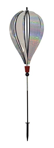 In the Breeze 1093 Silver Sparkle 6 Panel Hot Air Balloon Ground Spinner