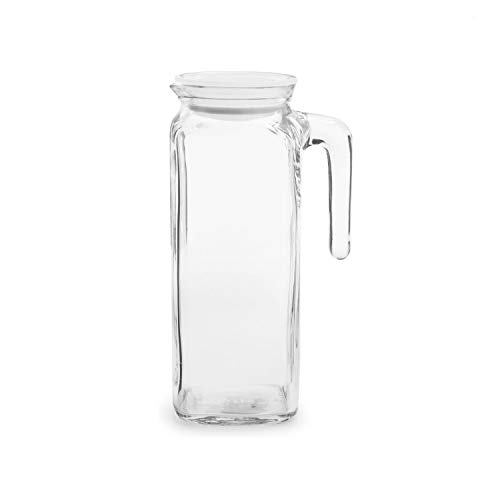 Bormioli Rocco Glass Frigoverre Jug With Airtight Lid (1 Liter): Clear Pitcher With Hermetic Sealing, Easy Pour Spout & Handle - For Water, Juice, Iced Coffee & Iced Tea (1 Liter Glass Pitcher With Lid)