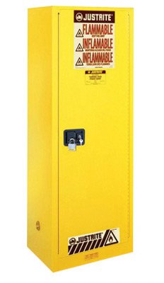 (Justrite 22 Gallon Yellow Sure-Grip EX 18 Gauge Cold Rolled Steel Slimline Safety Cabinet With Self-Closing Door And Shelves - 1 EA )