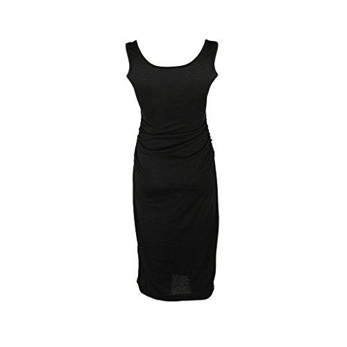 bodyconnegro el Adelgaza Mujeres L Vestido impresión sólido Vestido Plaza Cuello de Mangas Providethebest Plisado sin 0On8xZZw