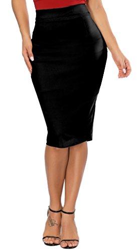 Calvin & Sally High Waisted Pencil Skirt, Womens Elastic Pencil Skirt Longline High Waisted Skirt (Black L)